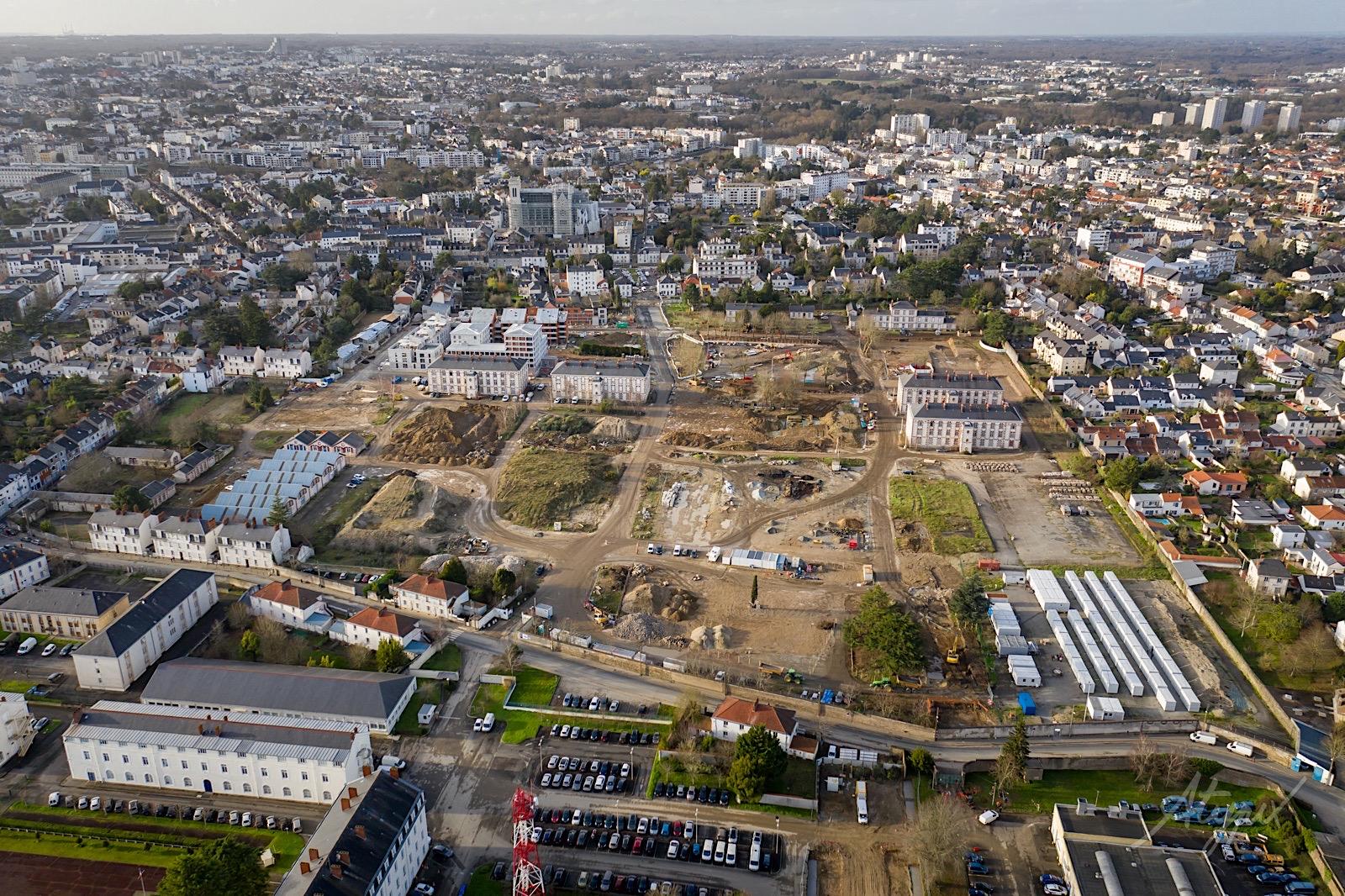 vue par drone du chantier Mellinet à Nantes