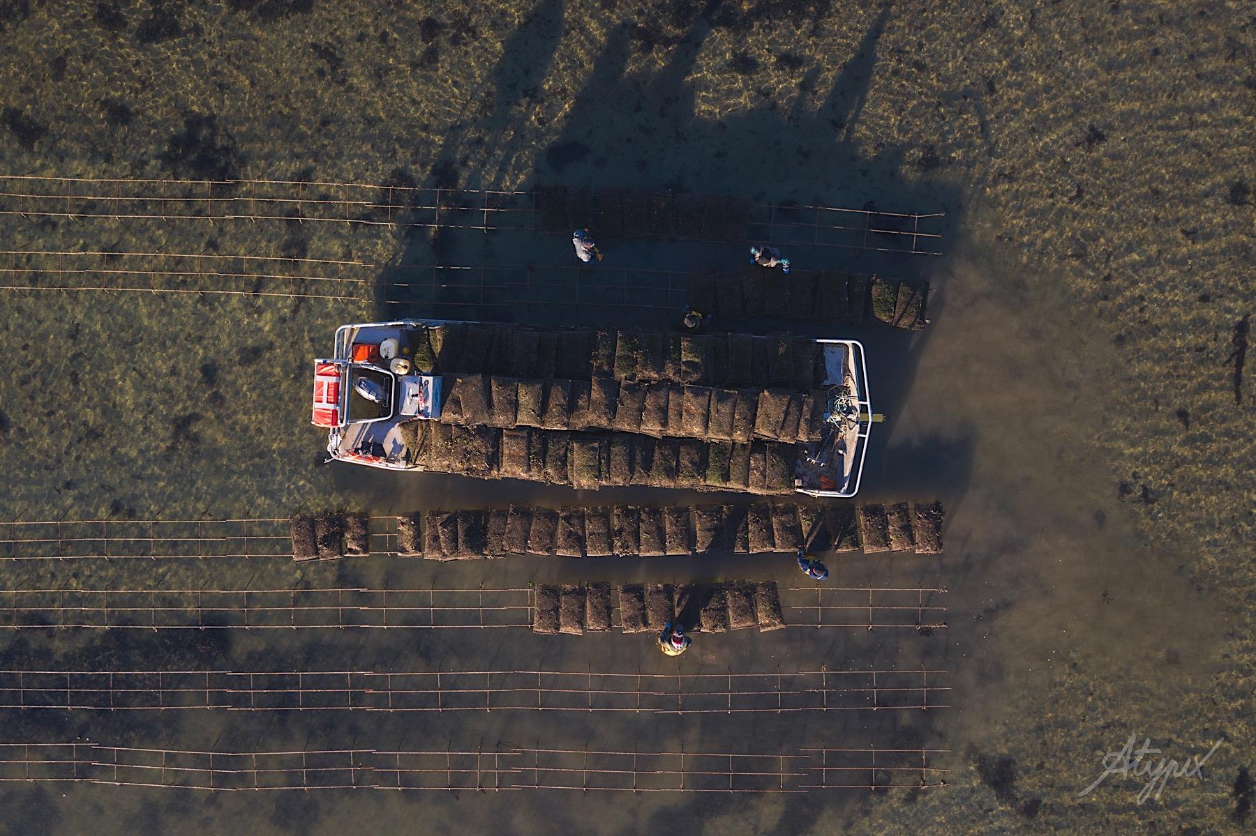 photographie drone ostréiculture finistère